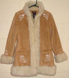 28417e80b57 Details about Route 55 Winter Coat Sz 14 16 Brown Faux Suede Fur Flower  Detail 2 Pockets