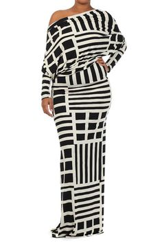 Get noticed with this off the shoulder, bold black and white graphic design maxi dress...fitted well at waste thru thigh