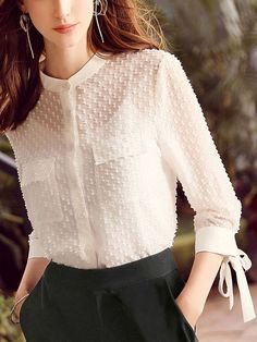 Shop – White Semi-sheer Textured Chiffon Blouse on Metisucom Discover stylish and vogue women's dresses for the season Regular discounts up to off - Fashion Backless Maxi Dresses, Sexy Dresses, Fashion Dresses, Woman Dresses, Casual Dresses, Blouse Styles, Blouse Designs, Hijab Styles, Bluse Outfit