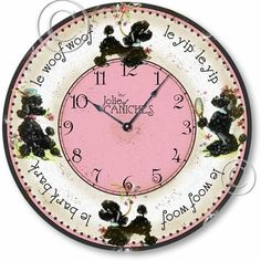 """How cute is this Vintage Style Retro Fifties French Poodles Clock ?"""" Wouldn't it be great if French poo. Types Of German Shepherd, German Shepherds, Style Retro, Vintage Style, Vintage Pink, French Poodles, Standard Poodles, Pink Poodle, Paris Theme"""