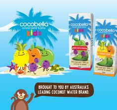 Cocobella Kids Coconut Water illustrated packaging designed by Sugarfree Design