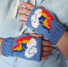 ready to ship - My Little Pony knit fingerless gloves - Rainbow Dash