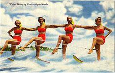 Vintage Aqua Maids Water Ski Postcard from Cypress Gardens Florida. Fun gift to frame! By PostcardBoutique, $10.00