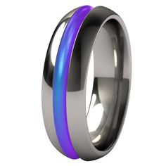 Synapse Colored Titanium Wedding Band. Perfect for both men and women, this classic band can be adorned with a touch of vibrant color to suit your personality
