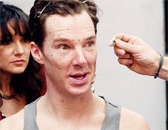Holding up a sample eye: Benedict Cumberbatch during the creation process for his Madame Tussauds wax figure. [Video/GIF]
