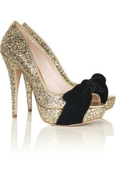 Glitter & Black Suede Bow Heels #shoes