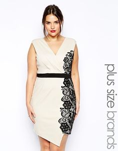 The Little Mistress Wrap Front Pencil Dress With Lace Overlay is perfect for an intimate evening vow renewal followed by dinner at your favorite restaurant.