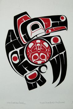 Nisga'a Raven and Frog by The Blackbird, via Flickr