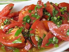 Killer Marinated Tomatoes  Gonna make these with my left over tomato's