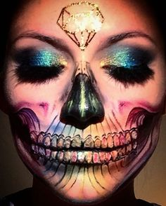 A Rainbow Skull inspired by my Pink Floyd T-shirt. I used MAC Painsticks and JT Glitter for the teeth. #skulltress #skullmakeup #dupemag #amazingmakeupart #skullface #fiercesociety #pinkfloyd #maccosmetics #rainbowskull #facepaint #undiscovered_muas