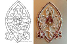 Love that not all space is beaded. Russian Embroidery, Pearl Embroidery, Tambour Embroidery, Embroidery Stitches, Embroidery Patterns, Hand Embroidery, Flower Embroidery, Beading Projects, Beading Tutorials