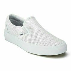 Vans Women's Classic Perforated Leather Slip-On Trainers  Vans Slip-On Trainers in white with a perforated leather upper and low profile design. Set on a vulcanised white rubber outsole with the classic waffle tread, the trainers are finished with an elasticated closure.  Sole: Rubber.   Price: £52.00 (follow link below for any price updates)  Buy now:  http://www.musteredlady.com/vans-womens-classic-perforated-leather-slip-on-trainers-white-uk-5-18 #perforatedleather #leather #trainers…