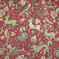 Tapestry Fabric for Curtains Curtain Lining, Lined Curtains, Curtain Fabric, Tapestry Fabric, Beast, Birds, Red, Home Decor, Decoration Home