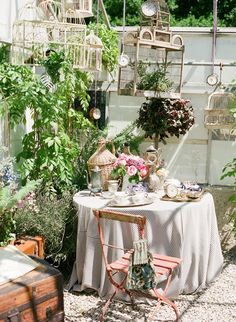 Who doesnt love a vintage birdcage in their garden with green and flower life pouring through the cages?++