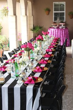 Black & white stripes, gold & hot pink accents. Hot pink sequin linen. Dessert bar. Bridal shower Kate Spade inspired. {So Eventful wedding & events}