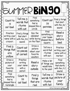 a fun bingo page and reward coupons for the important skills that don't require paper/pencil. Have your students complete one or more a day and place a bingo chip on each square. This is such a motivating way to keep your littles learning over the summer!