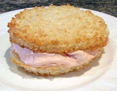 Coconut macaroon strawberry ice cream sandwich.  #icecreamsandwich #coconutmacaroonicecreamsandwich