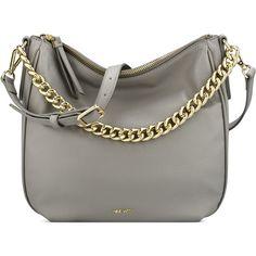 Nine West Morna Hobo Bag ($79) ❤ liked on Polyvore featuring bags, handbags, shoulder bags, grey, round handbag, round purse, grey shoulder bag, gray handbags and grey hobo handbags