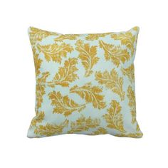 Decorative Blue & Gold Floral Throw Pillow