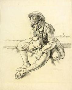 The Gas Mask. Stretcher-bearer, RAMC, near Arras