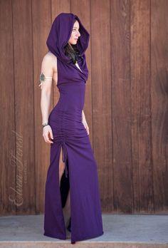Cowl Hood Maxi Dress ~ Elven Forest, Burning Man, Festival Clothing, Pixie Clothing, Wedding, Gypsy Clothing, Elven Dress, Tribal, Halter by ElvenForest on Etsy https://www.etsy.com/listing/292450579/cowl-hood-maxi-dress-elven-forest