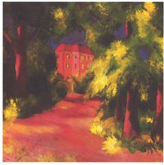 Red House in a Park August Macke 1914 Kunstmuseum, Bonn (Germany) Painting - oil on canvas Height: 60 cm in.), Width: 80 cm in. August Macke, Patrick Nagel, Famous German Artists, Expressionist Artists, Illustrations, Sculpture, Park, Painting Prints, Paintings