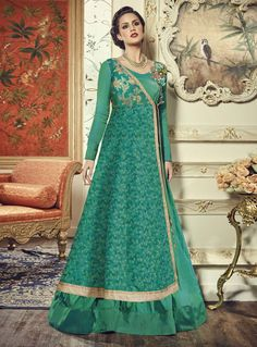 Green Silk Long Anarkali Suit With Jacket 85473