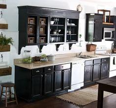 dark cabinets, white appliances