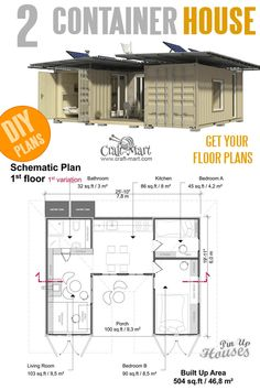 Two Shipping Container House Floor Plans with 2 Bedrooms Two Shipping Container DIY House Plans complete set of cargo container house plans construction progress + comments c 2 Bedroom House Plans, Small House Plans, House Floor Plans, The Plan, How To Plan, Affordable House Plans, Shipping Container Home Designs, Shipping Containers, Building A Container Home