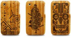 Carved wooden iPhone cases.