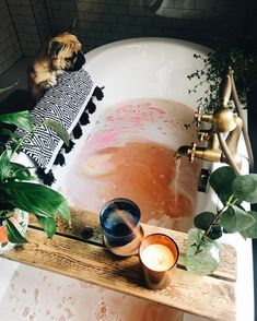 Sending everyone magical Tub vibes on this rainy Thursday . Take a peek at our site for more ✨🛁🌱🕯🌧💜😊. Killing the Tub game . Bohemian Bathroom, Relaxing Bath, Laundry In Bathroom, Room Decor Bedroom, Decoration, Biodegradable Products, Bohemian Style, Interior And Exterior, Sweet Home