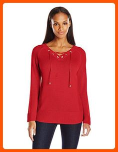 Calvin Klein Women's Lace Up V-Neck Sweater, Rouge, X-Small - All about women (*Amazon Partner-Link)