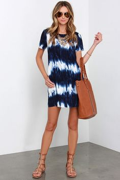 Seawall Ivory and Navy Blue Print Shift Dress at Lulus.com!