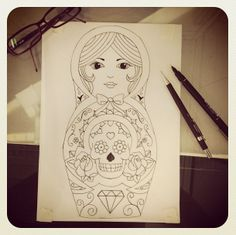 Matryoshka Doll Tattoo | Pin Traditional Matryoshka Russian Doll Tattoo On Pinterest