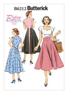 B6212 | Butterick Patterns Retro Butterick 1952 Misses' Pullover Back-Wrap Dresses. Sizes 14 thru 22