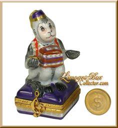 Hurdy-Gurdy Organ Grinder Monkey Artoria Limoges Box.