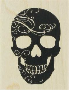Large rubber skull stamp
