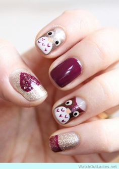 O M G - Beautiful Owl Nail Art Design