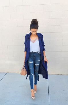 DETAILS: BLUE ILLUSION SLEEVELESS TOP (22% OFF – CODE: WEEKENDSALE) | NAVY TRENCH (22% OFF – CODE: WEEKENDSALE) | DISTRESSED HIGH-RISE DENIM (UNDER $60 – SIZE UP: WEARING SIZE 26 &#8211…