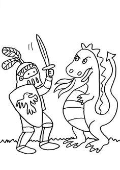 Ausmalbild Ritter: Ritter und Drache kämpfen kostenlos ausdrucken