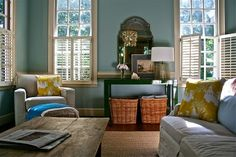 Love the rustic table and the splashes of yellow.  #livingroom by cora