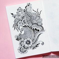 Design by LinesInAir on DeviantArt Doodle Art Drawing, Zentangle Drawings, Mandala Drawing, Zentangle Patterns, Henna Patterns, Zentangles, Art Drawings Sketches Simple, Pencil Art Drawings, Beautiful Flower Drawings