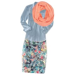 This was created a couple of years, but, this floral skirt is what it's all about this Spring. Love the dreamsicle-colored scarf with the chambray. Divine.