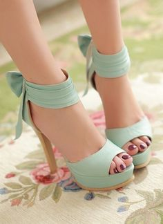 High Heel Ankle Strap Blue Bow Sandals