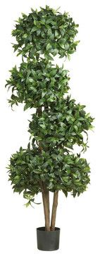 69in. Sweet Bay Topiary with 4 Balls Silk Tree contemporary-artificial-flowers