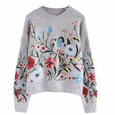 [Sweaters] 2018 Korean Autumn spring fashion new solid color round collar full sleeve loose embroidered sweater women V74702