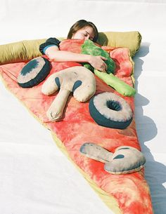 "caption for this: ""slice of pizza sleeping bag with optional toppings"" OH MY."