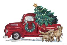 Christmas Truck Rustic Farm Embroidery Design - What's New - Single Embroidery Designs - Embroidery Designs Family Christmas Stockings, Christmas Farm, Christmas Truck, Peacock Embroidery Designs, Machine Embroidery Patterns, Antique Trucks, Christmas Embroidery, Sewing Notions, Sewing Projects