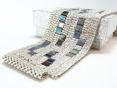 Shining Night Beadwoven Cuff Bracelet - Modern Blocks Collection. $69.00, via Etsy.