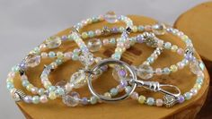Pastel Mints handcrafted beaded lanyard perfect by OklahomaMama